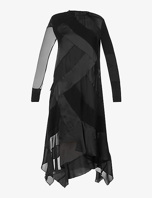 SACAI: Panelled semi-sheer crepe and cotton-knit maxi dress