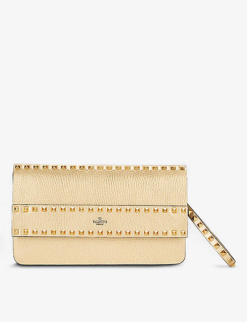 VALENTINO GARAVANI: Rockstud Spike metallic leather clutch bag
