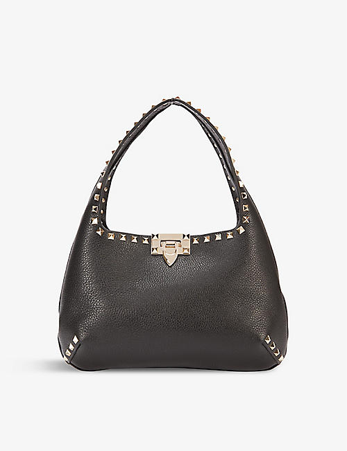 VALENTINO GARAVANI: Rockstud small leather hobo bag