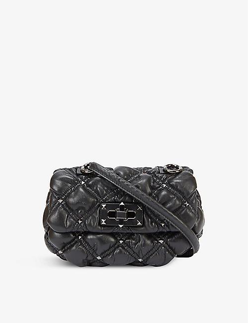 VALENTINO GARAVANI: Spike Me small studded quilted-leather shoulder bag