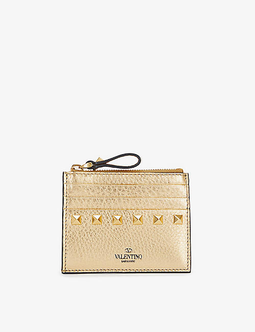 VALENTINO GARAVANI: Rockstud metallic leather zip card holder