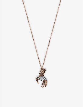 THE ALKEMISTRY: Kismet by Milka 14ct rose-gold and diamond bird necklace
