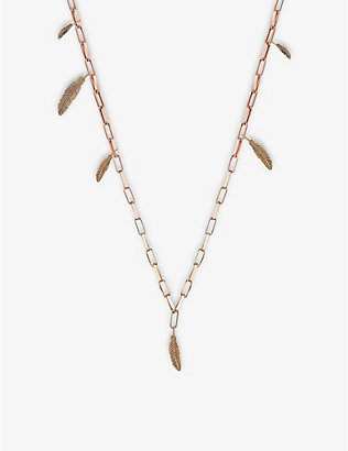 THE ALKEMISTRY: Kismet by Milka Feather 14ct rose-gold and diamond necklace
