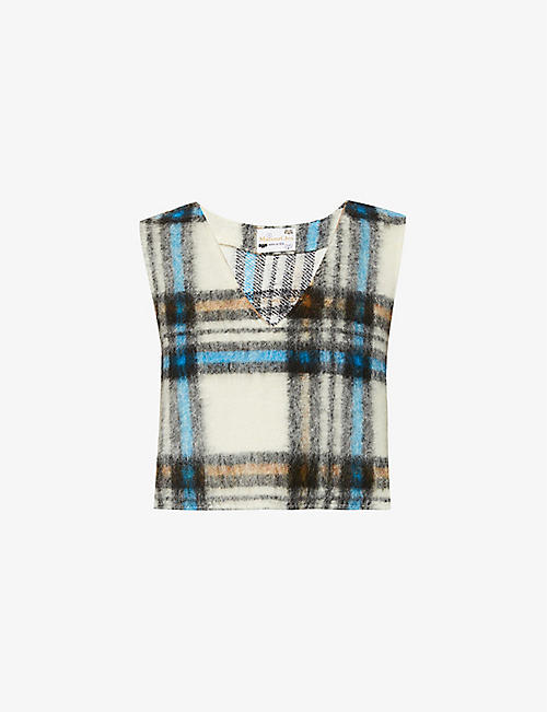 MAISONCLEO: Youna checked sleeveless wool top