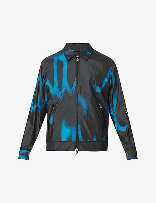 PAUL SMITH: Abstract-pattern collared shell jacket