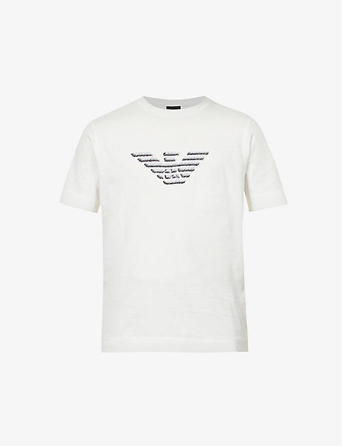 EMPORIO ARMANI: Brand-embroidered crewneck cotton-jersey T-shirt