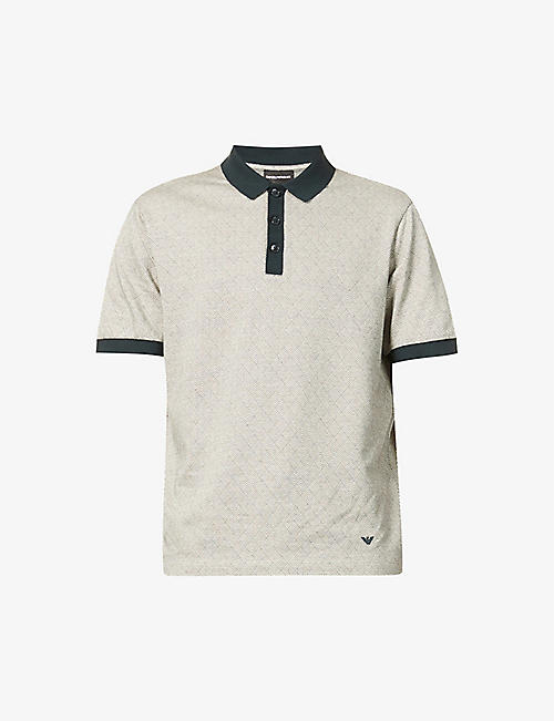 EMPORIO ARMANI: Printed cotton-blend polo shirt