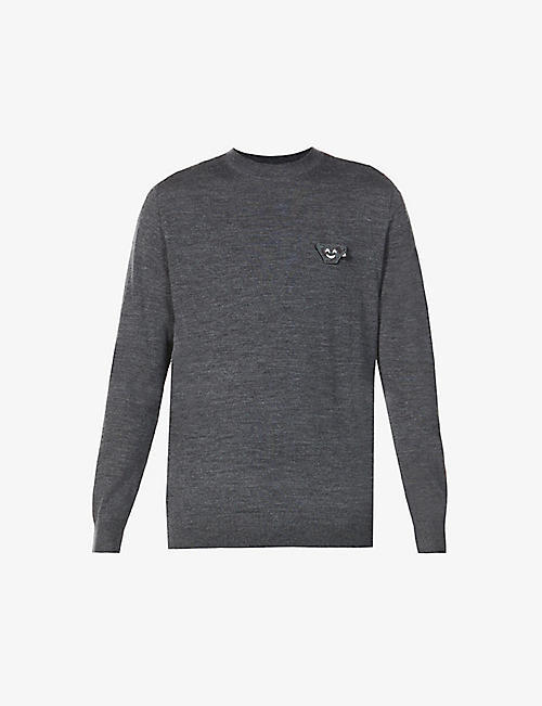 EMPORIO ARMANI: Branded-patch wool jumper