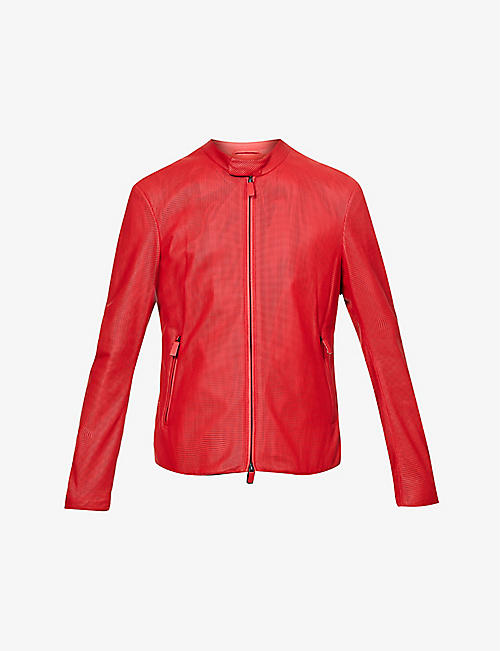 EMPORIO ARMANI: Stand-collar perforated leather jacket