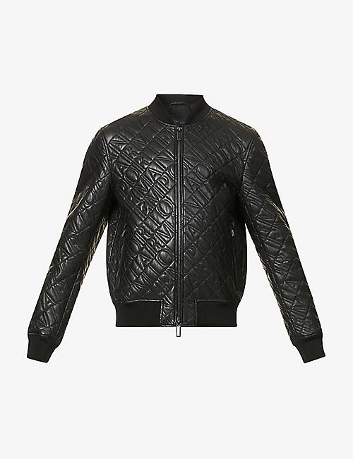 EMPORIO ARMANI: Brand-embossed collared leather bomber jacket
