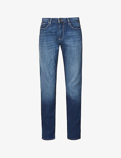 EMPORIO ARMANI: J06 regular-fit faded stretch-denim jeans