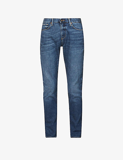 EMPORIO ARMANI: J06 mid-rise regular-fit stretch-denim jeans