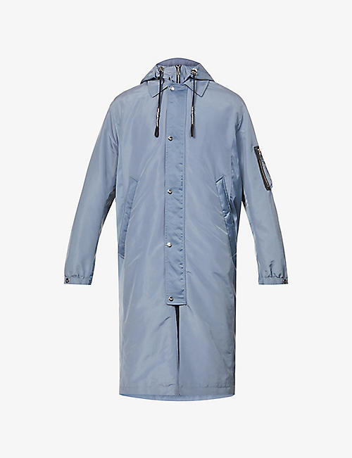 EMPORIO ARMANI: Patch-pocket shell hooded trench coat