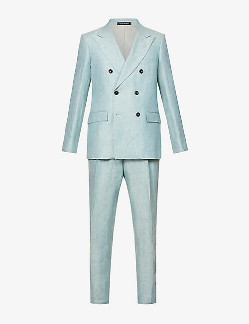 EMPORIO ARMANI: Double-breasted slim-fit linen suit