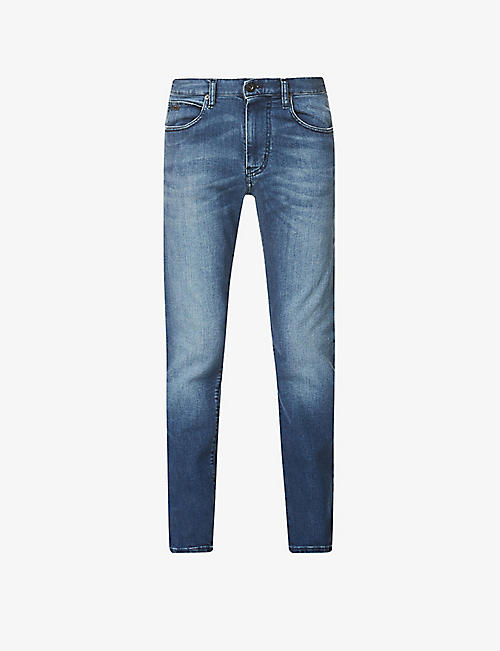 EMPORIO ARMANI: J45 washed mid-rise stretch-denim jeans