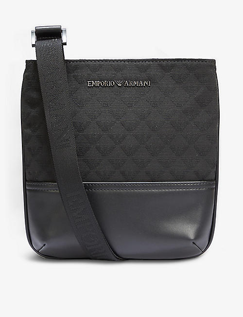 EMPORIO ARMANI: Logo-embossed woven and leather cross-body bag
