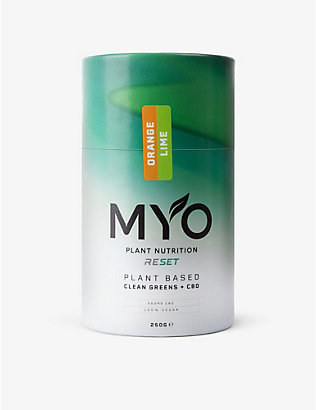 MYO: Reset Clean Greens CBD vegan orange and lime protein powder 250g
