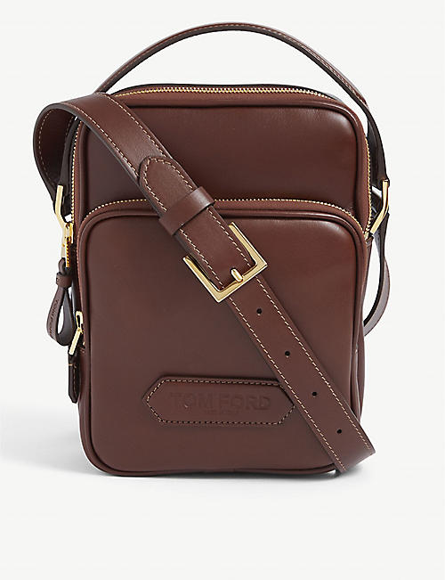 TOM FORD: Brand-plaque zipped leather cross-body bag
