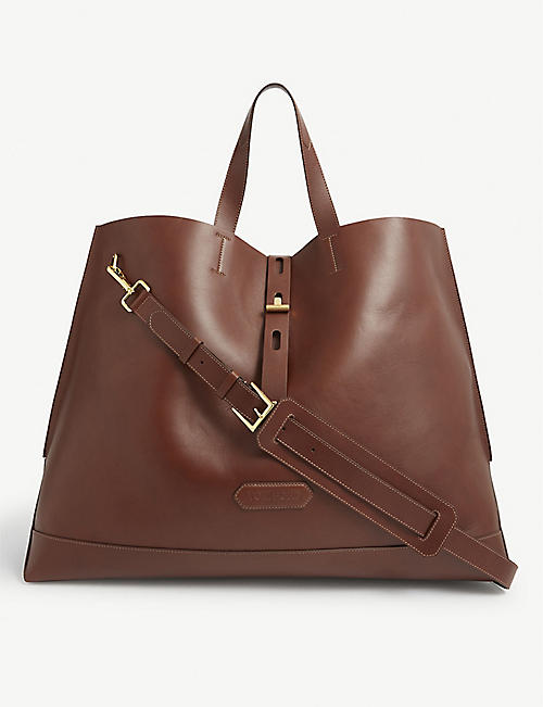 TOM FORD: Brand-embossed top-handle leather tote bag