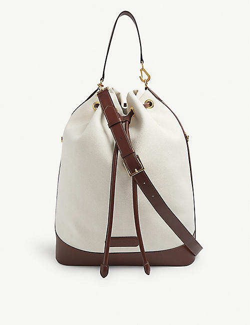 TOM FORD: Brand-embossed cotton-canvas bucket bag