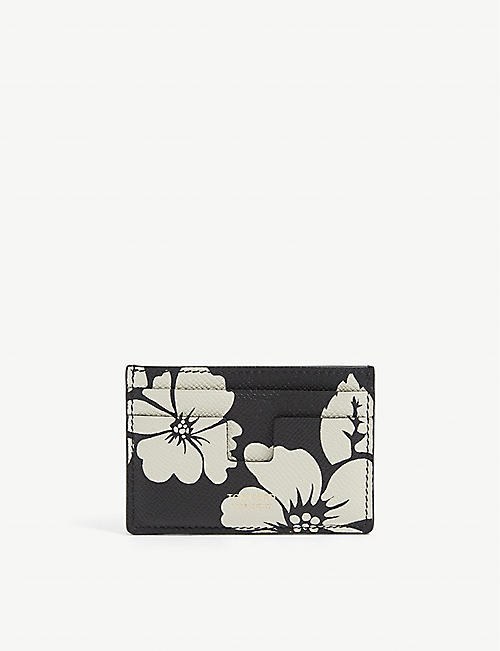 TOM FORD: Floral-print leather card holder