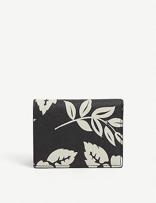 TOM FORD: Logo-embossed floral-pattern leather cardholder