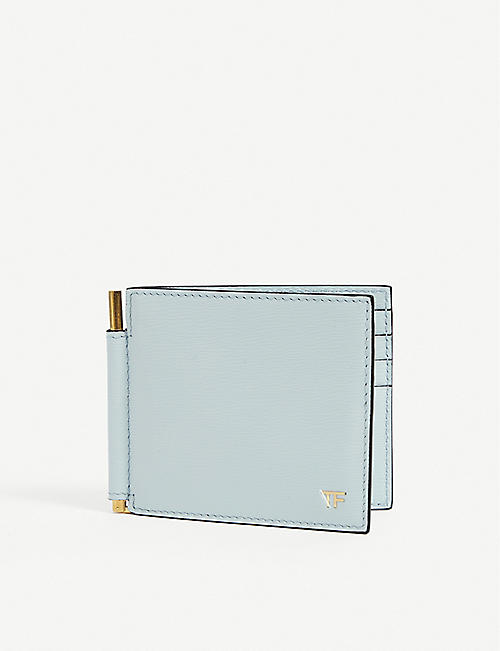 TOM FORD: Logo-embossed leather money clip wallet