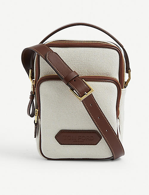 TOM FORD: Brand-embossed zipped canvas cross-body bag