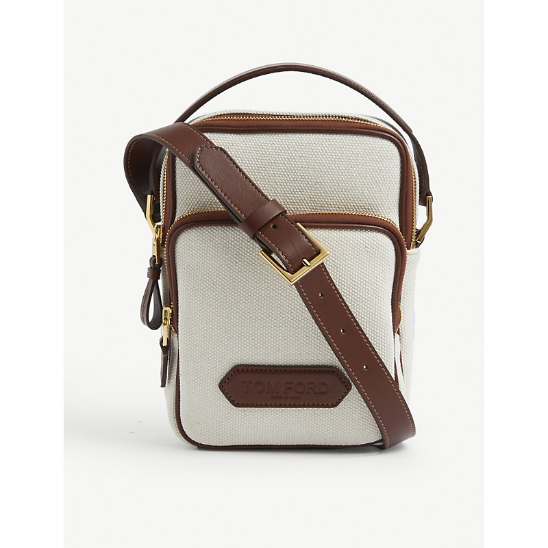 Tom Ford BRAND-EMBOSSED ZIPPED CANVAS CROSS-BODY BAG