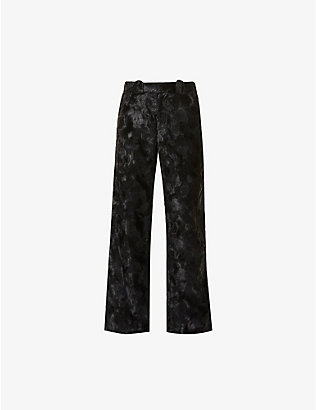 NICOMEDE: Straight textured faux-fur trousers