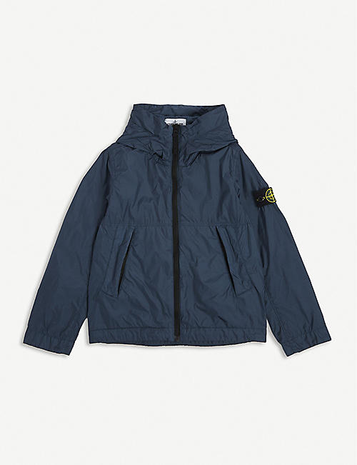 STONE ISLAND: Brand-patch shell hooded jacket 8-14 years