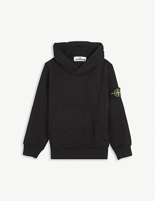 STONE ISLAND: Brand-patch long-sleeved cotton hoody 4-14 years