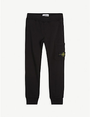 STONE ISLAND: Compass logo-patch cotton jogging bottoms 4-14 years