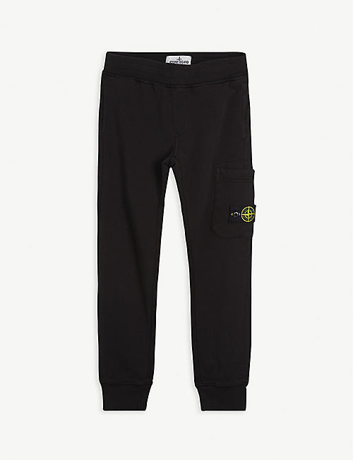 STONE ISLAND: Compass logo-patch cotton jogging bottoms 10-12 years