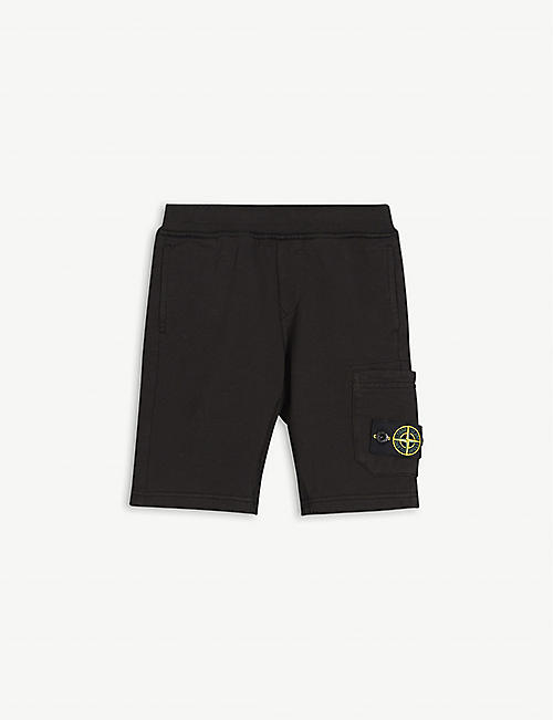 STONE ISLAND: Compass logo-patch cotton-jersey shorts 4-14 years