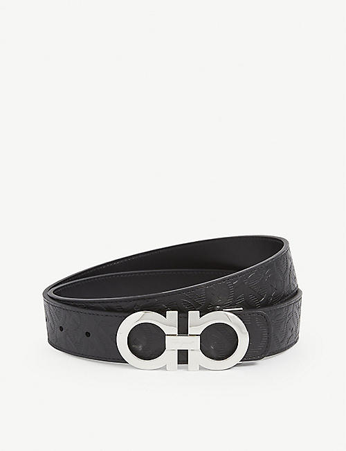 SALVATORE FERRAGAMO: Reversible leather logo belt