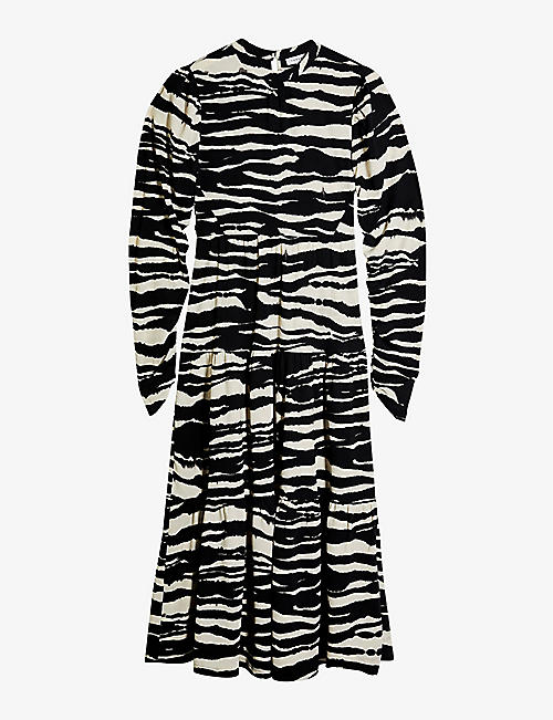 TOPSHOP: Tiered animal-print woven midi dress