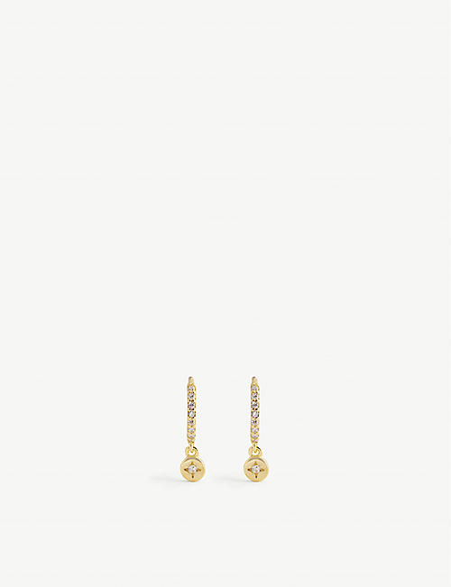 ASTRID & MIYU: Crystal 18ct yellow gold-plated sterling silver huggie earrings