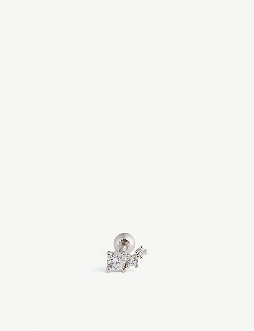 ASTRID & MIYU: Barbell 18ct sterling silver and cubic zirconia earring