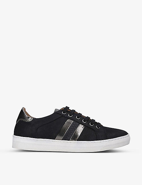 NINE WEST: Stripe faux-leather low-top trainers