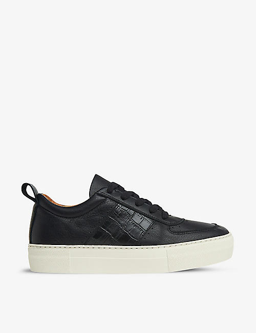 WHISTLES: Anna snake-embossed leather trainers