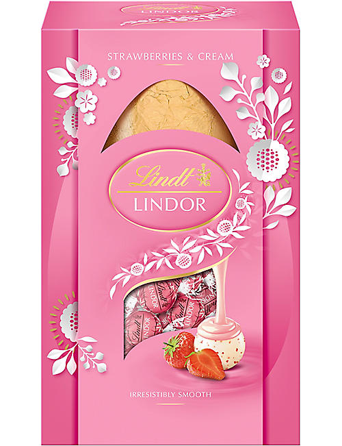 LINDT: Lindor Strawberries and Cream white chocolate Easter Egg 260g