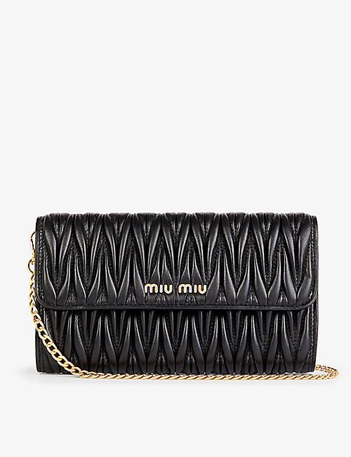 MIU MIU: Matelassé branded leather shoulder bag