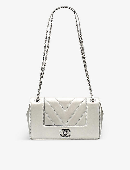 RESELLFRIDGES: Pre-loved Chanel chevron-embroidered leather cross-body bag