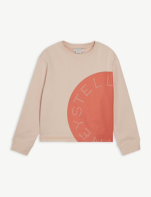 STELLA MCCARTNEY: Logo-print cotton organic sweatshirt 4-16 years
