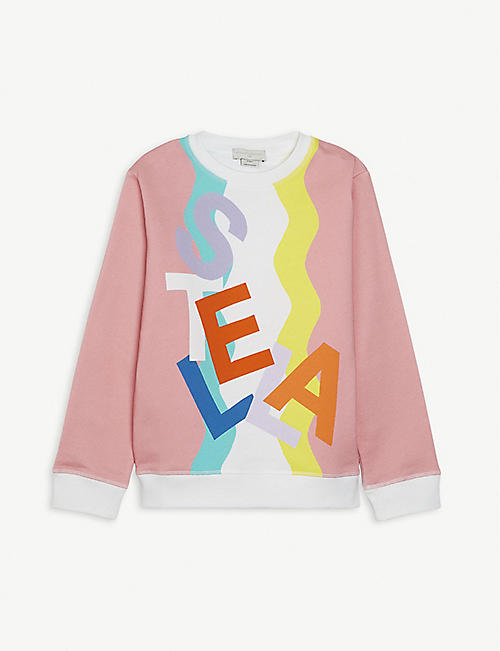 STELLA MCCARTNEY: Squiggle logo-print cotton sweatshirt 4-14 years