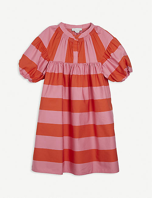 STELLA MCCARTNEY: Striped puff-sleeved organic-cotton dress 4-16 years