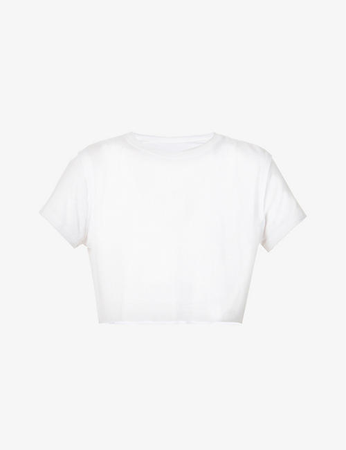 JOAH BROWN: Deconstructed cropped stretch-jersey T-shirt