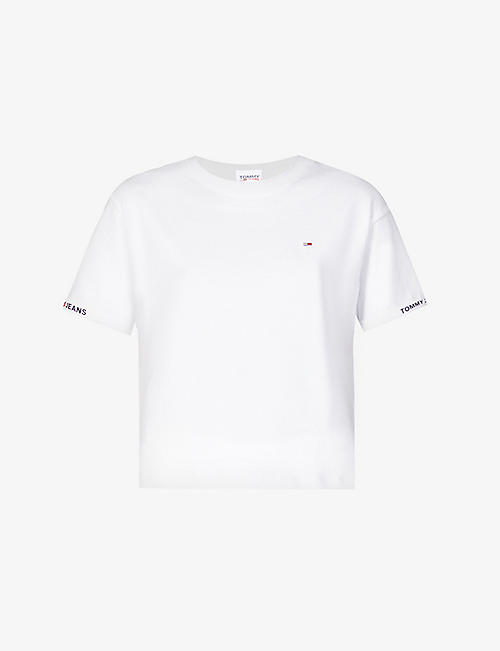 TOMMY JEANS: Logo-embroidered cropped organic cotton-jersey T-shirt