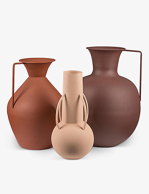 POLS POTTEN: Roman powder-coated metal vases set of three